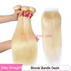 Free Shipping Blonde Hair Silky Straight Bundle Deals