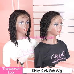 New Kinky Curly Transparent 13x6 Lace Bob Wig 150% Density