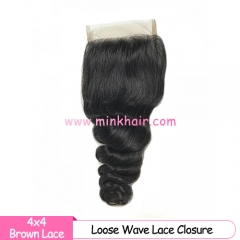 Brown Lace Mink Hair Supplier 4*4 Lace Closure Brazilian Loose Wave 100% Human Hair