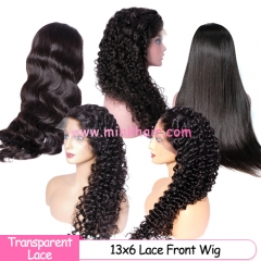 Undetectable Transparent 13x6 Lace Front Wig 150% Density 10A Grade From Mink Brazilian Human Hair Wigs Vendor