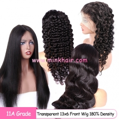 NEW 11A Grade Transparent 13x6 Lace Front Wig 180% Density Human Hair Wigs