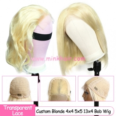 Custom #613 Blonde 4x4 5x5 Closure Bob Wig and 13x4 Lace Front Bob Wig 180% Density Wig