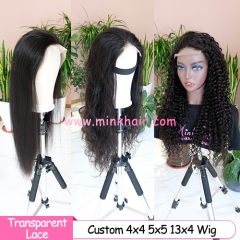 Transparent Lace Closure Wig 4x4 5x5 and 13x4 Transparent Lace Front Wig Custom Wig