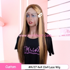 Custom #4/27 #4/30 #30 13x4 Frontal Wig and 4x4 Closure Wig 180% Density Human Hair Ombre Lace Wigs