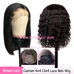 Custom Brown Lace 4x4 Closure Bob Wig and 13x4 Frontal Bob Wig 180% Density